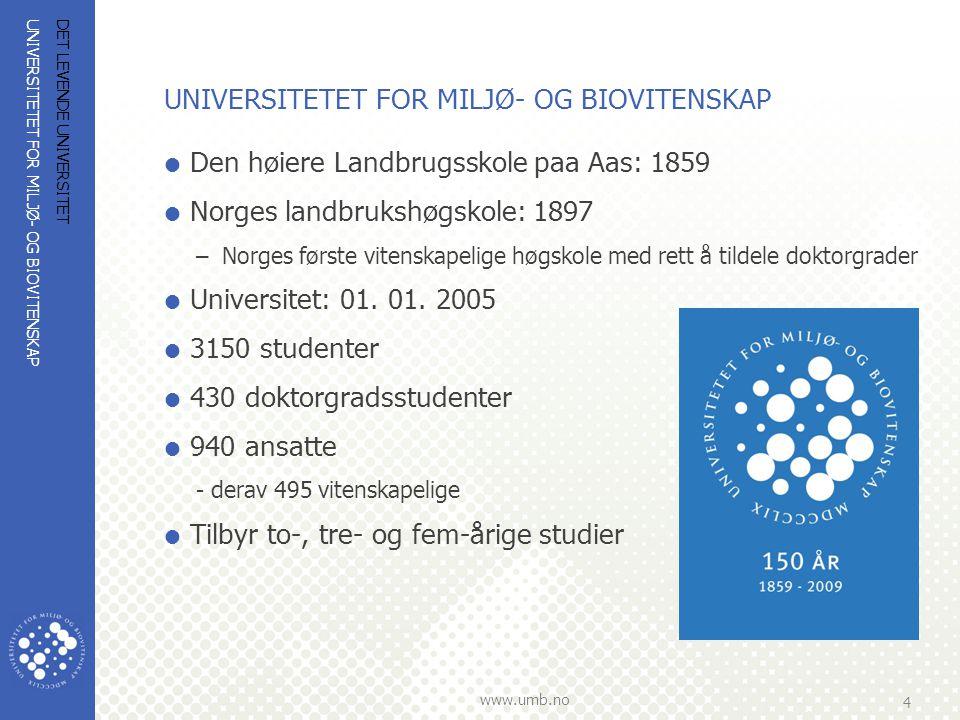UNIVERSITETET FOR MILJØ- OG BIOVITENSKAP www.umb.no 4 DET LEVENDE UNIVERSITET UNIVERSITETET FOR MILJØ- OG BIOVITENSKAP  Den høiere Landbrugsskole paa