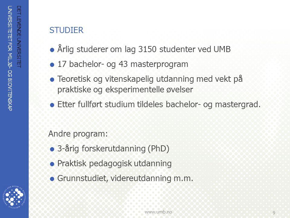 UNIVERSITETET FOR MILJØ- OG BIOVITENSKAP www.umb.no 10 DET LEVENDE UNIVERSITET ANTALL STUDENTER HØST 2008  Bachelor - 950  Master - 1850  PPU, grunnstudiet, utveksling og videreutdanning – 350  Forskerutdanning - 380