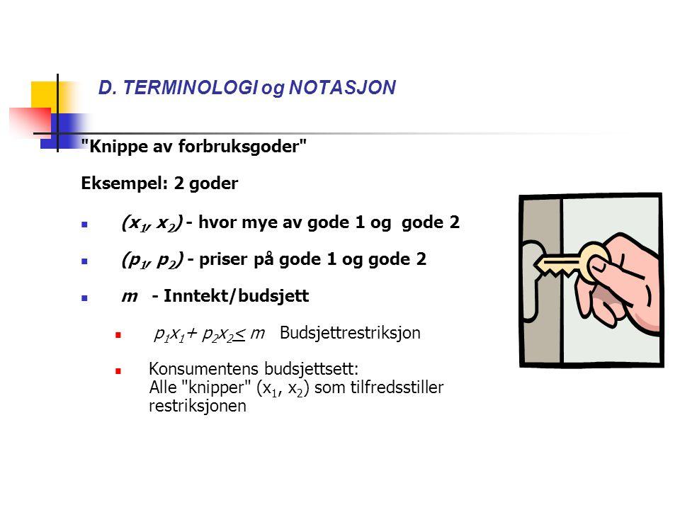 D. TERMINOLOGI og NOTASJON