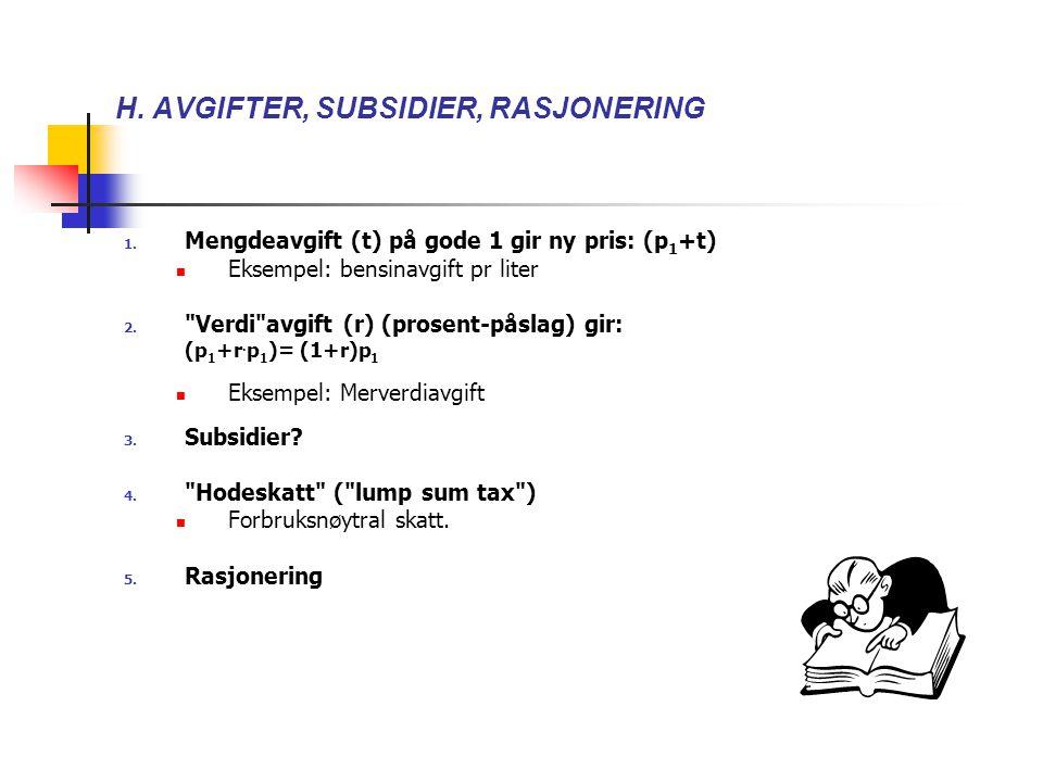 H. AVGIFTER, SUBSIDIER, RASJONERING 1. Mengdeavgift (t) på gode 1 gir ny pris: (p 1 +t) Eksempel: bensinavgift pr liter 2.