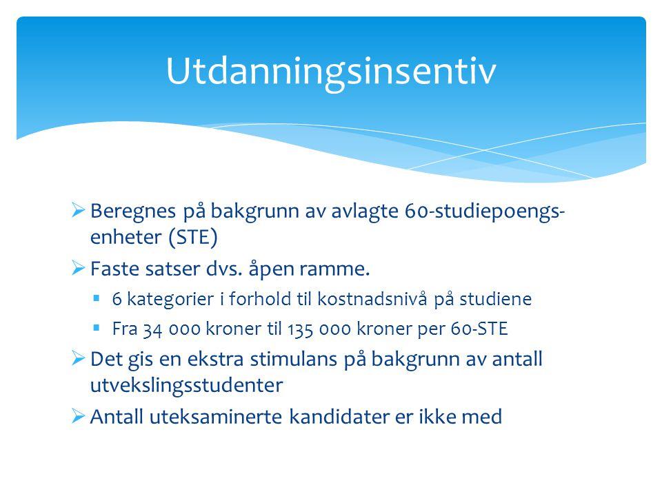  Beregnes på bakgrunn av avlagte 60-studiepoengs- enheter (STE)  Faste satser dvs. åpen ramme.  6 kategorier i forhold til kostnadsnivå på studiene