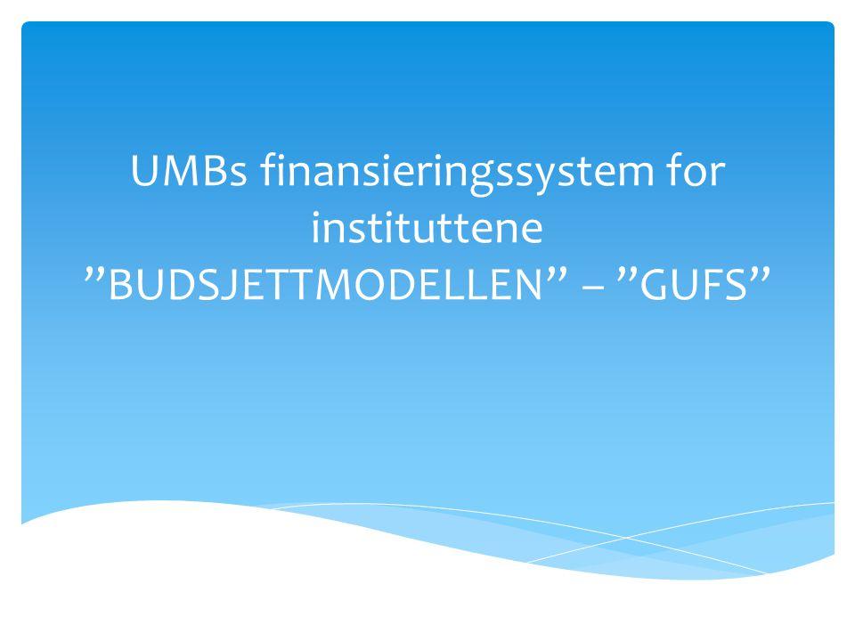 UMBs finansieringssystem for instituttene BUDSJETTMODELLEN – GUFS