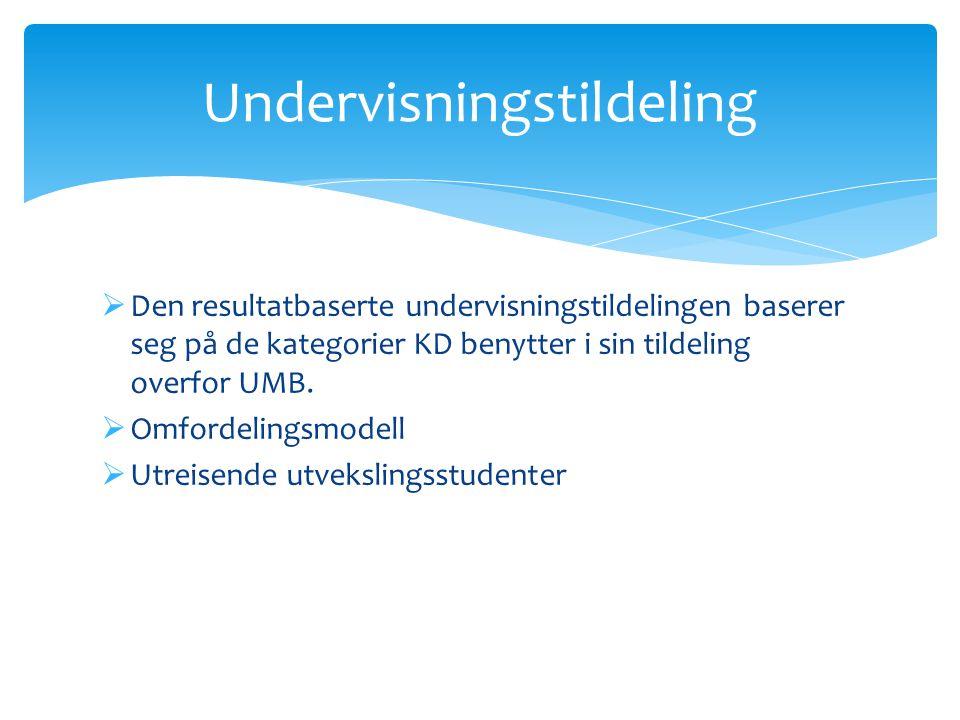  Den resultatbaserte undervisningstildelingen baserer seg på de kategorier KD benytter i sin tildeling overfor UMB.  Omfordelingsmodell  Utreisende