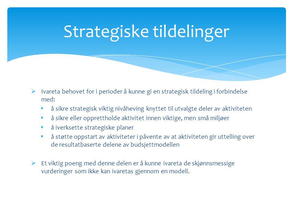  Ivareta behovet for i perioder å kunne gi en strategisk tildeling i forbindelse med:  å sikre strategisk viktig nivåheving knyttet til utvalgte del
