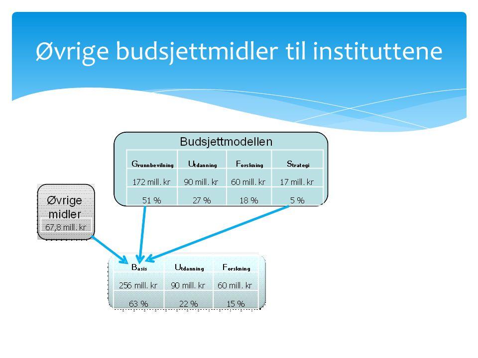 Øvrige budsjettmidler til instituttene
