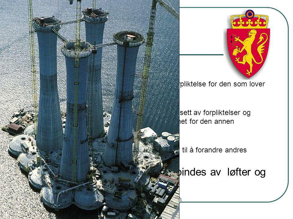 Steinar Taubøll - JUS201 UMB Løfter, avtaler og myndighetsutøvelse Løfte Utsagn som etablerer en ensidig forpliktelse for den som lover Avtale To elle