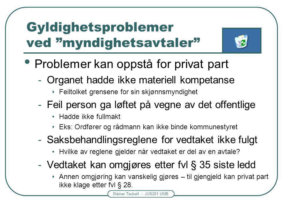"""Steinar Taubøll - JUS201 UMB Gyldighetsproblemer ved """"myndighetsavtaler"""" Problemer kan oppstå for privat part -Organet hadde ikke materiell kompetanse"""