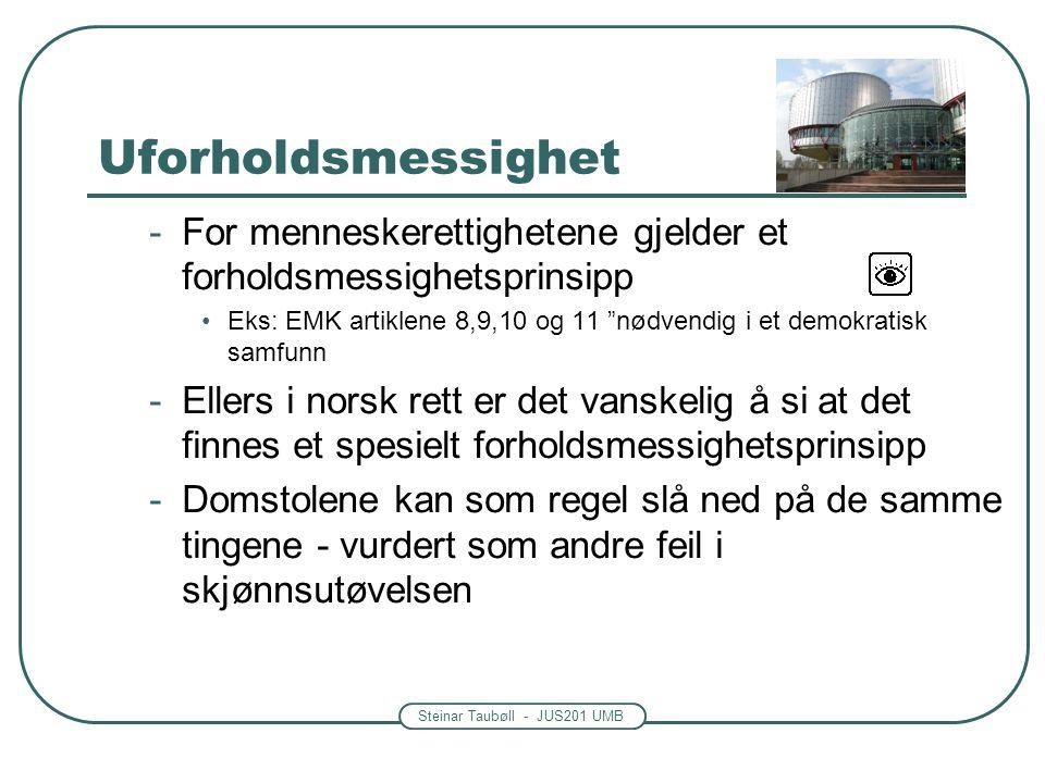 """Steinar Taubøll - JUS201 UMB Uforholdsmessighet -For menneskerettighetene gjelder et forholdsmessighetsprinsipp Eks: EMK artiklene 8,9,10 og 11 """"nødve"""