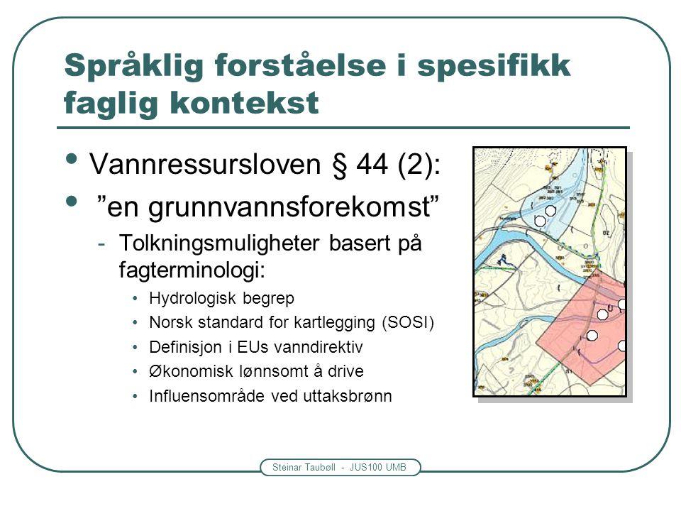 """Steinar Taubøll - JUS100 UMB Språklig forståelse i spesifikk faglig kontekst Vannressursloven § 44 (2): """"en grunnvannsforekomst"""" -Tolkningsmuligheter"""