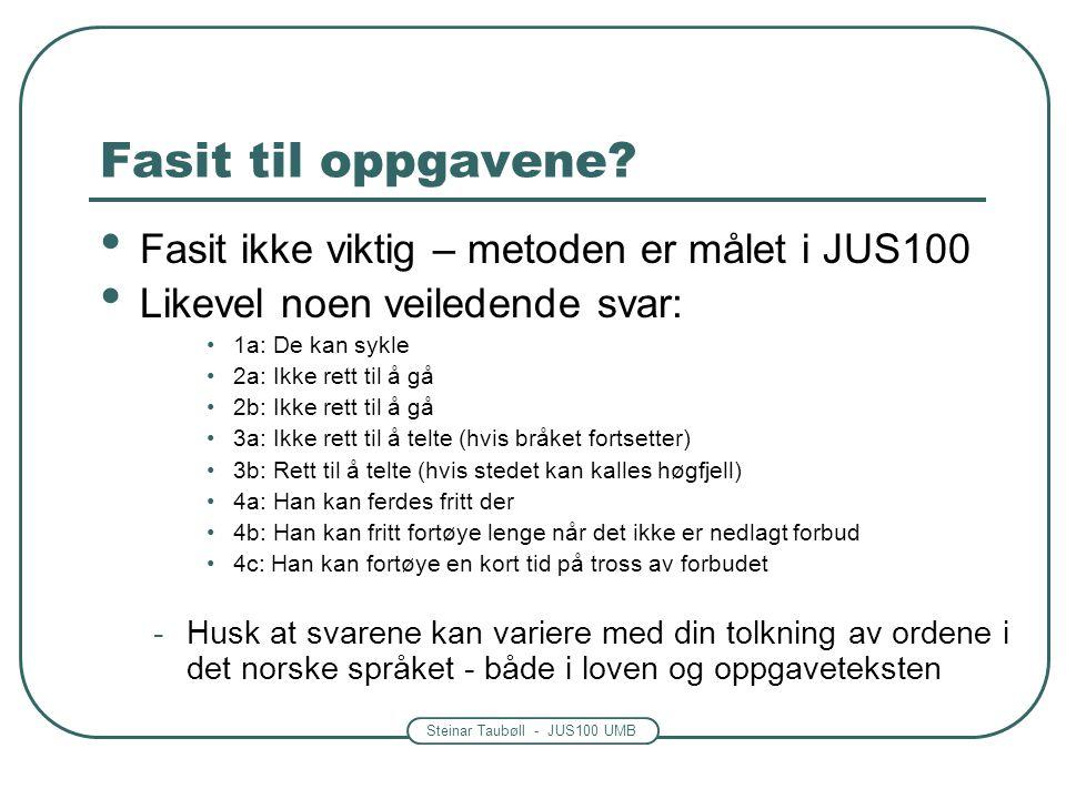 Steinar Taubøll - JUS100 UMB Fasit til oppgavene? Fasit ikke viktig – metoden er målet i JUS100 Likevel noen veiledende svar: 1a: De kan sykle 2a: Ikk