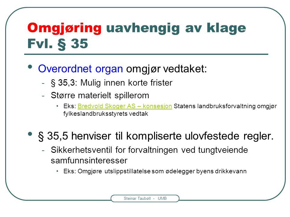 Steinar Taubøll - UMB Omgjøring uavhengig av klage Fvl. § 35 Overordnet organ omgjør vedtaket: -§ 35,3: Mulig innen korte frister -Større materielt sp