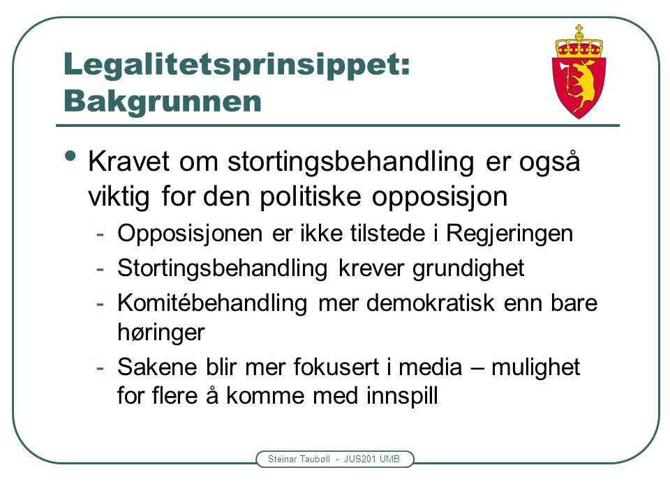 Steinar Taubøll - JUS201 UMB Legalitetsprinsippet: Bakgrunnen Kravet om stortingsbehandling er også viktig for den politiske opposisjon -Opposisjonen