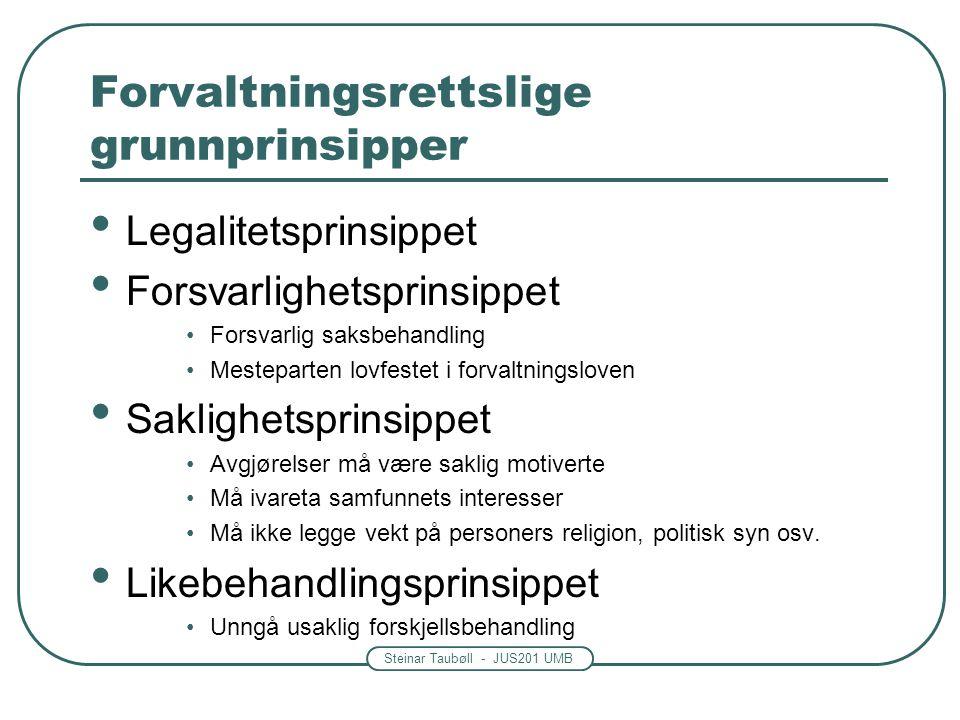 Steinar Taubøll - JUS201 UMB Forvaltningsrettslige grunnprinsipper Legalitetsprinsippet Forsvarlighetsprinsippet Forsvarlig saksbehandling Mesteparten