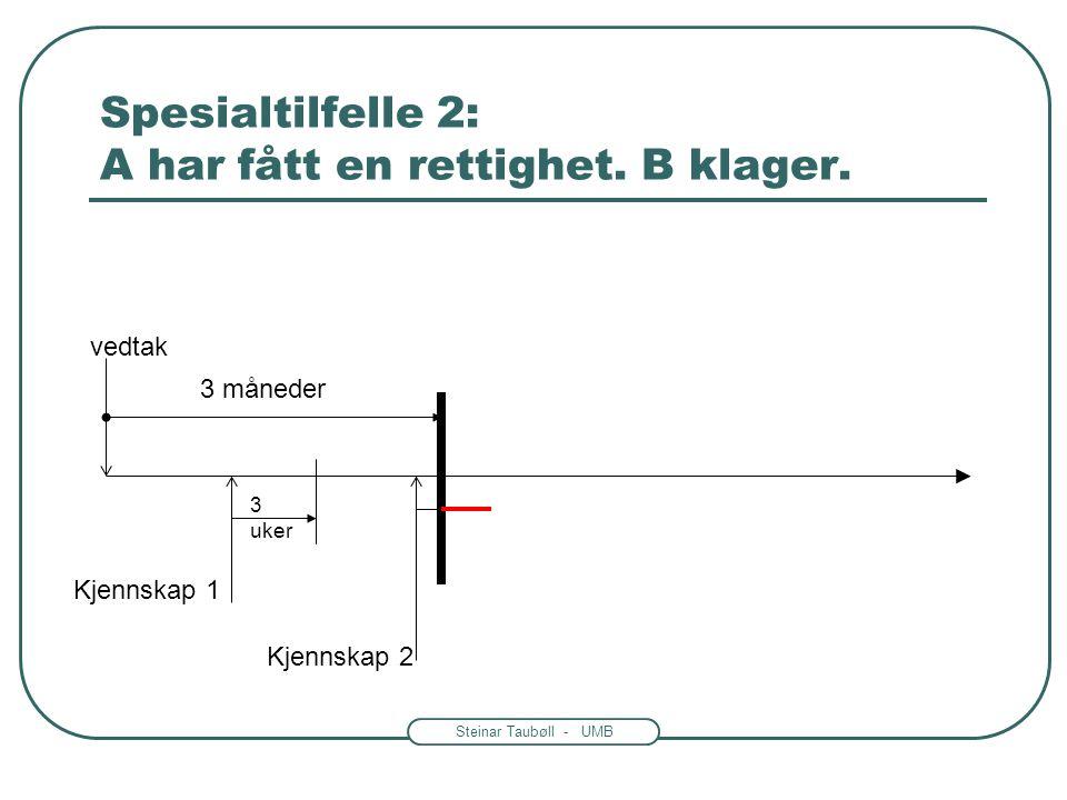 Steinar Taubøll - UMB Spesialtilfelle 2: A har fått en rettighet. B klager. 3 måneder vedtak Kjennskap 1 3 uker Kjennskap 2