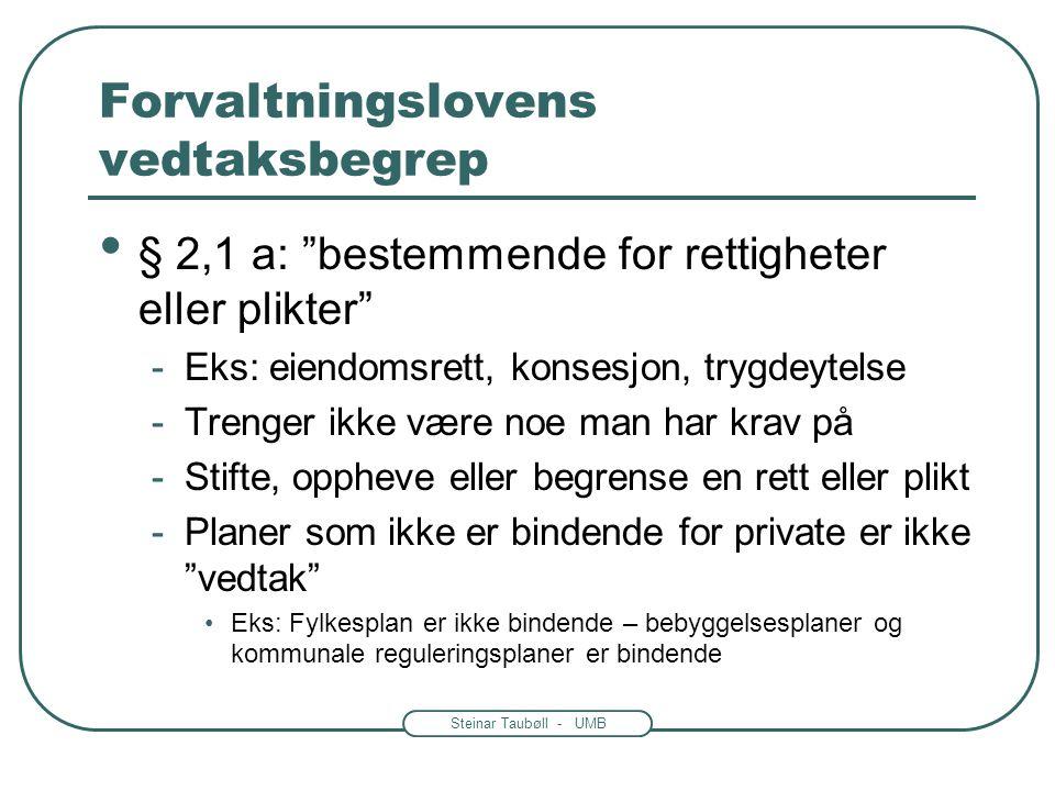 """Steinar Taubøll - UMB Forvaltningslovens vedtaksbegrep Ikke alle avgjørelser er """"vedtak"""" To typer vedtak -Enkeltvedtak – kap. IV-VI -Forskrift- kap VI"""