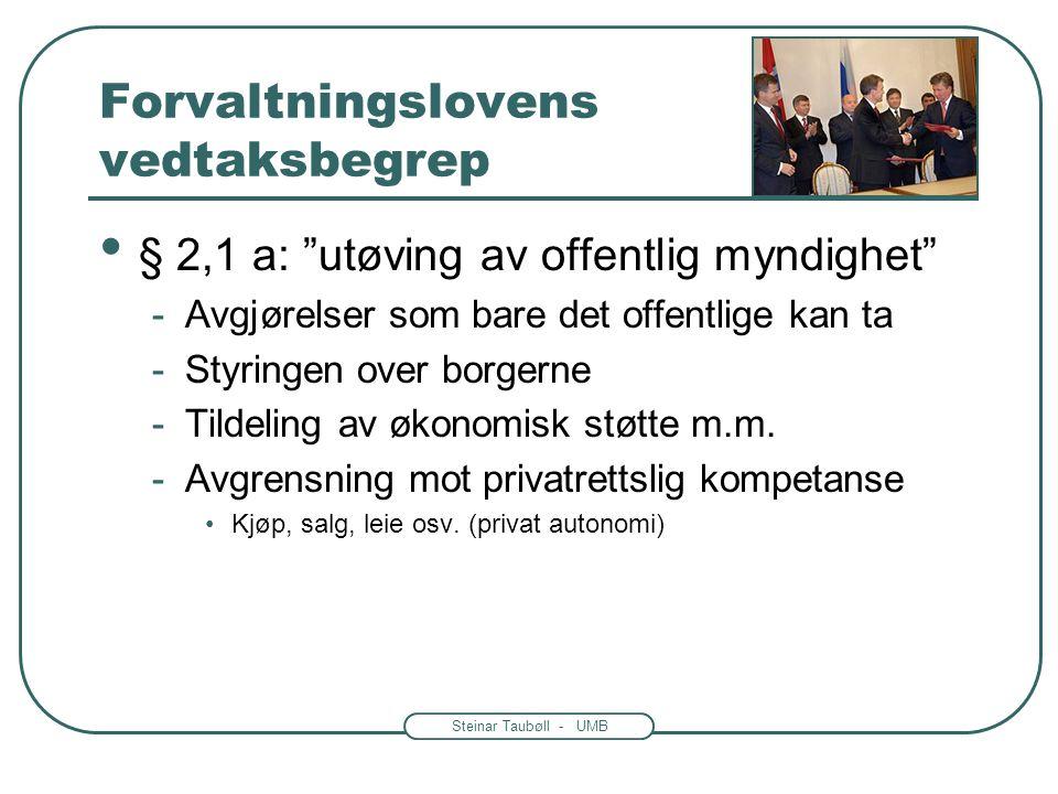 """Steinar Taubøll - UMB Forvaltningslovens vedtaksbegrep § 2,1 a: """"bestemmende for rettigheter eller plikter"""" -Eks: eiendomsrett, konsesjon, trygdeytels"""