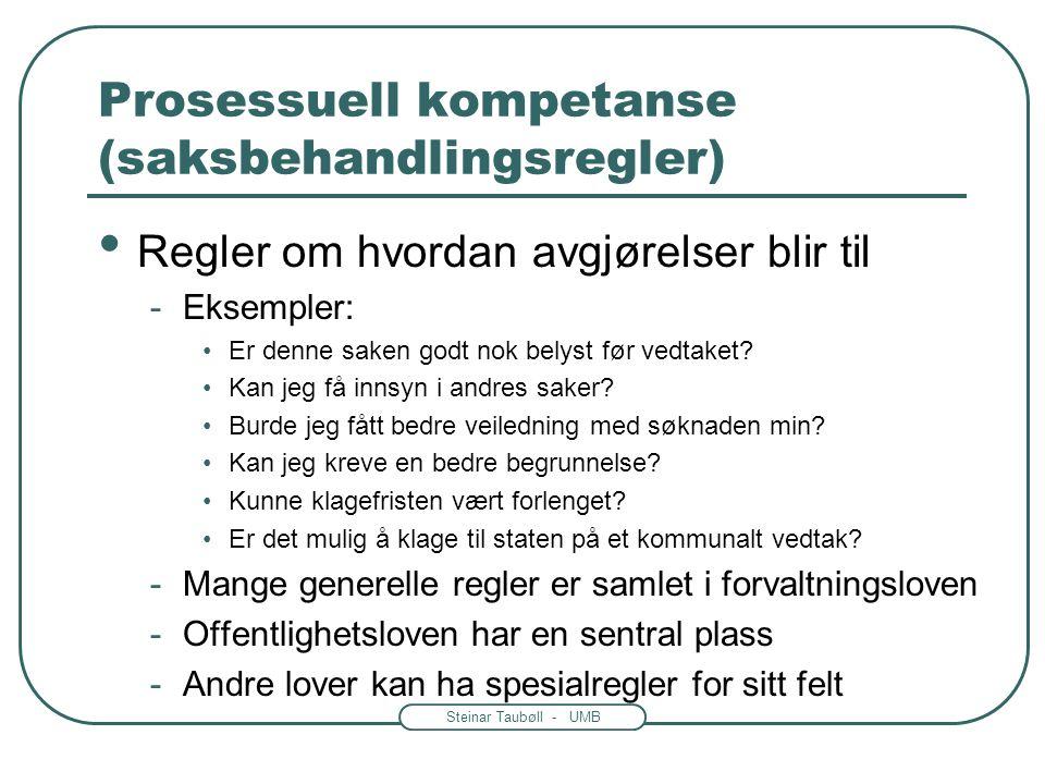 Steinar Taubøll - UMB Prosessuell kompetanse (saksbehandlingsregler) Regler om hvordan avgjørelser blir til -Eksempler: Er denne saken godt nok belyst før vedtaket.