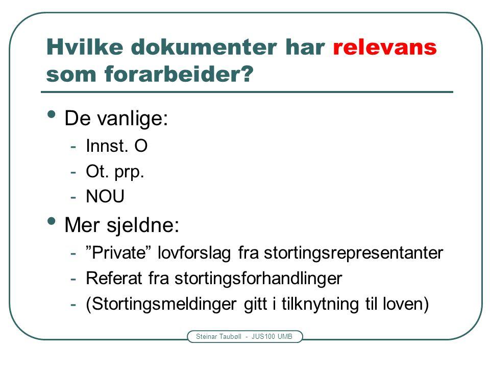 """Steinar Taubøll - JUS100 UMB Hvilke dokumenter har relevans som forarbeider? De vanlige: -Innst. O -Ot. prp. -NOU Mer sjeldne: -""""Private"""" lovforslag f"""