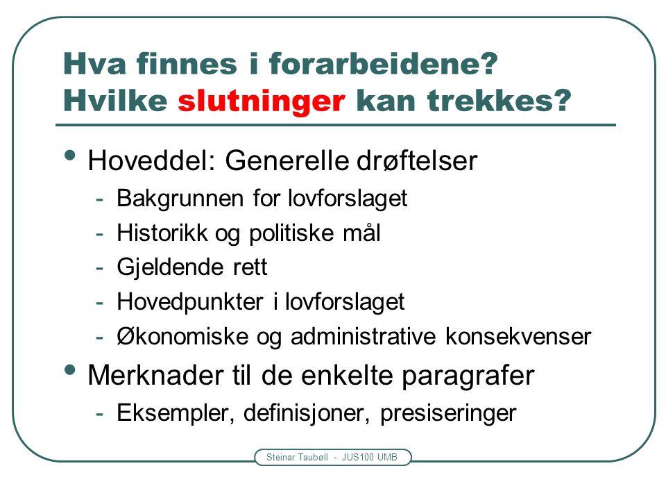 Steinar Taubøll - JUS100 UMB Hva finnes i forarbeidene? Hvilke slutninger kan trekkes? Hoveddel: Generelle drøftelser -Bakgrunnen for lovforslaget -Hi