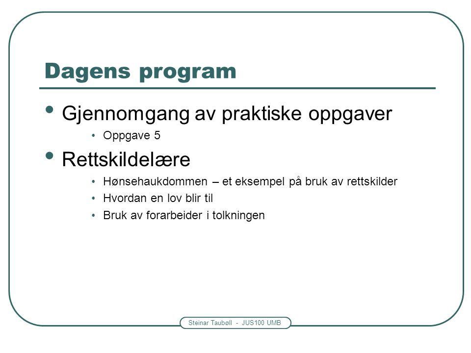 Steinar Taubøll - JUS100 UMB Dagens program Gjennomgang av praktiske oppgaver Oppgave 5 Rettskildelære Hønsehaukdommen – et eksempel på bruk av rettsk