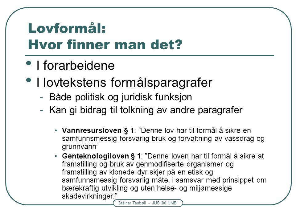 Steinar Taubøll - JUS100 UMB Lovformål: Hvor finner man det? I forarbeidene I lovtekstens formålsparagrafer -Både politisk og juridisk funksjon -Kan g