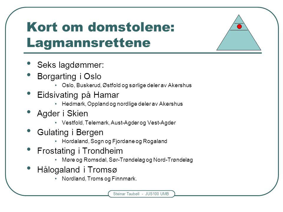 Steinar Taubøll - JUS100 UMB Kort om domstolene: Lagmannsrettene Seks lagdømmer: Borgarting i Oslo Oslo, Buskerud, Østfold og sørlige deler av Akershu