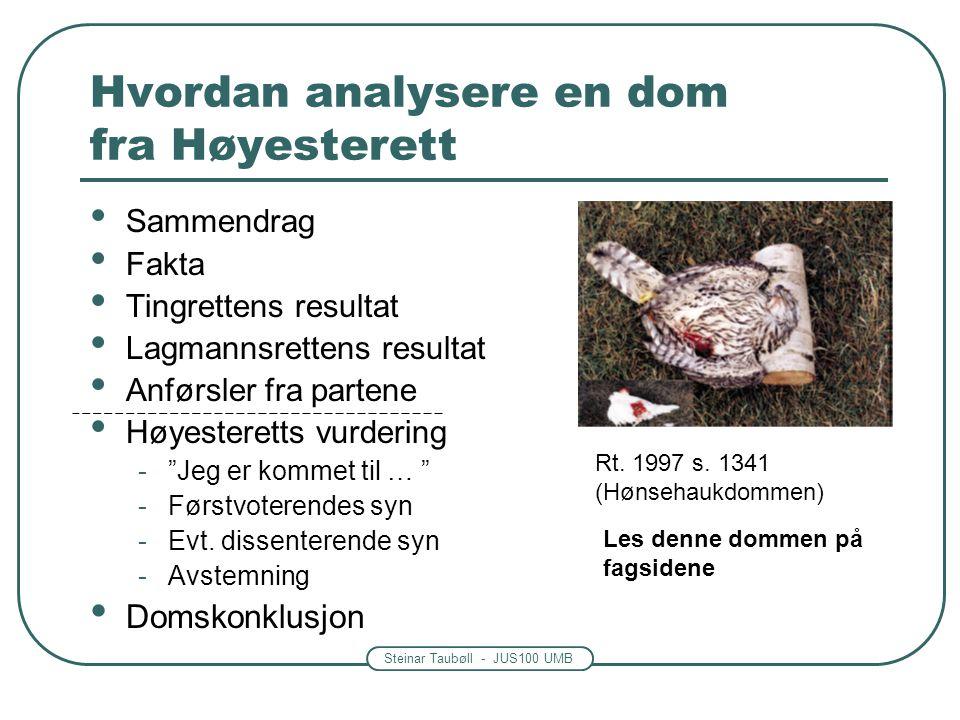 Steinar Taubøll - JUS100 UMB Hvordan analysere en dom fra Høyesterett Sammendrag Fakta Tingrettens resultat Lagmannsrettens resultat Anførsler fra par