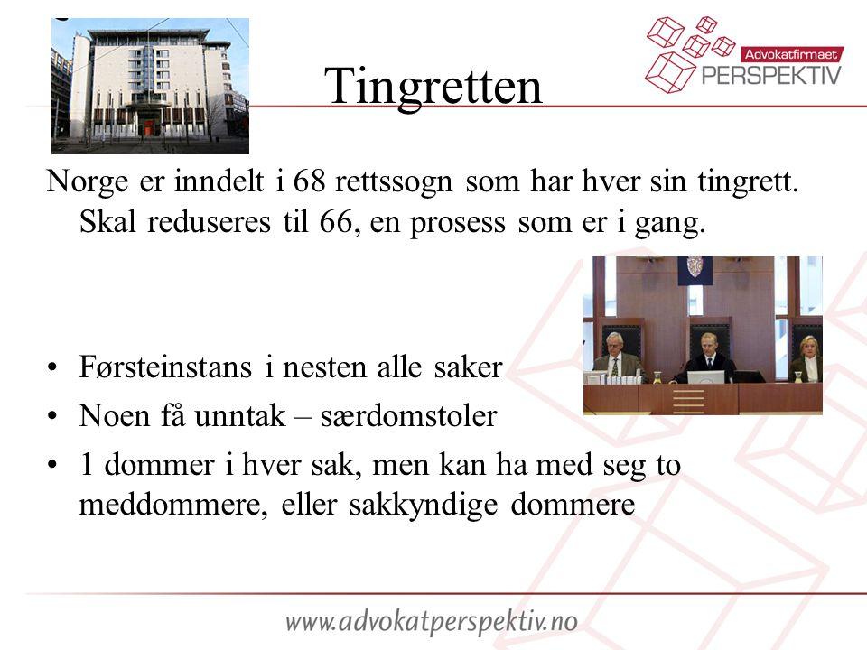 Tingretten Norge er inndelt i 68 rettssogn som har hver sin tingrett. Skal reduseres til 66, en prosess som er i gang. Førsteinstans i nesten alle sak