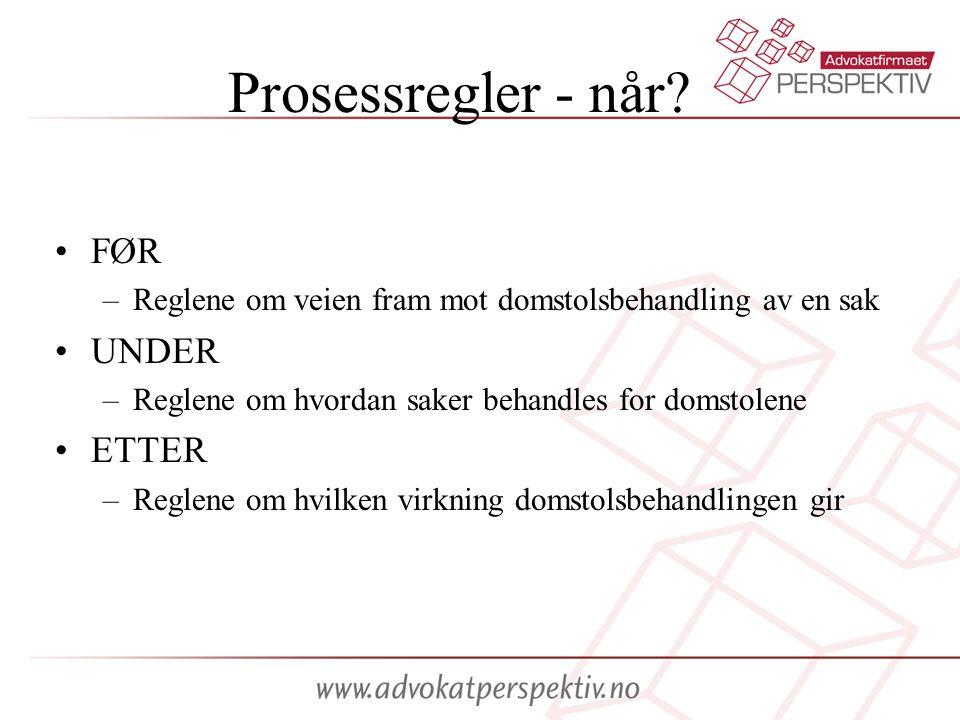 Prosessformer To prosessformer: –Sivilprosess –Straffeprosess Utgangspunkt: alle rettslige kjøreregler som ikke hører inn under straffeprosessen er sivilprosess