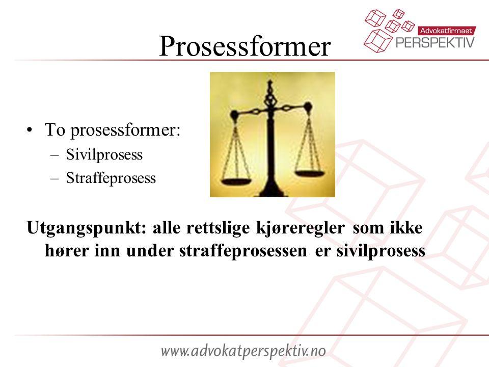 Prosessformer To prosessformer: –Sivilprosess –Straffeprosess Utgangspunkt: alle rettslige kjøreregler som ikke hører inn under straffeprosessen er si