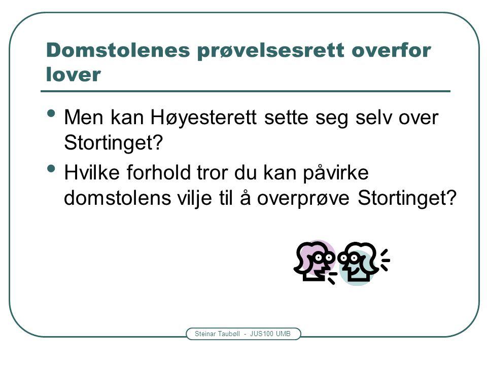 Steinar Taubøll - JUS100 UMB Domstolenes prøvelsesrett overfor lover Men kan Høyesterett sette seg selv over Stortinget? Hvilke forhold tror du kan på