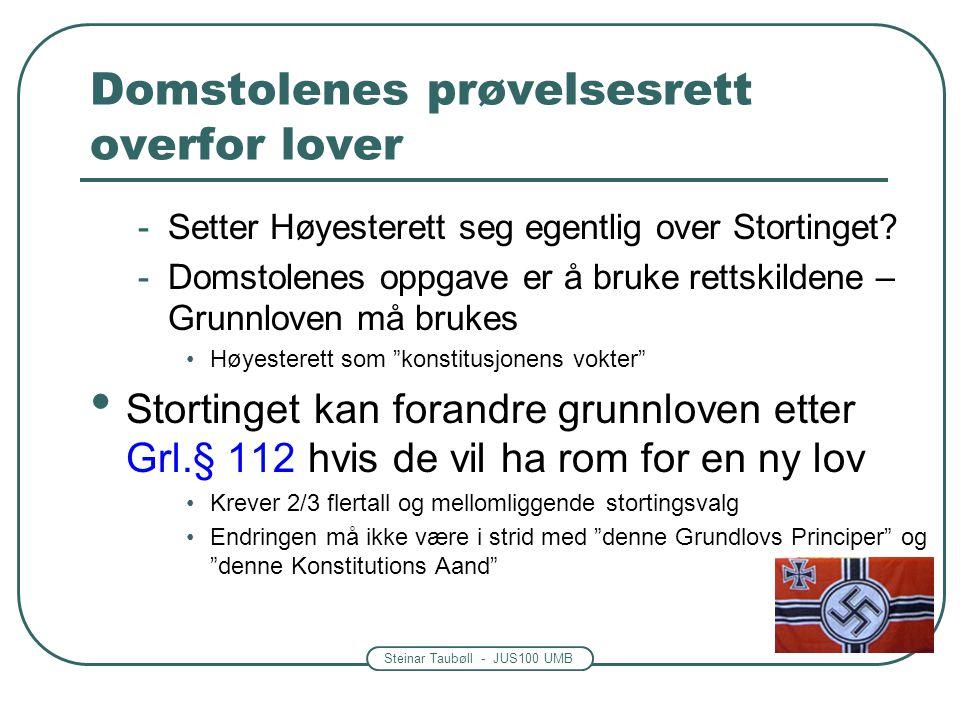 Steinar Taubøll - JUS100 UMB Domstolenes prøvelsesrett overfor lover -Setter Høyesterett seg egentlig over Stortinget? -Domstolenes oppgave er å bruke