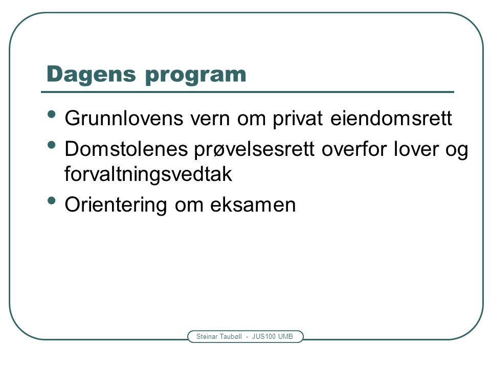 Steinar Taubøll - JUS100 UMB Dagens program Grunnlovens vern om privat eiendomsrett Domstolenes prøvelsesrett overfor lover og forvaltningsvedtak Orie