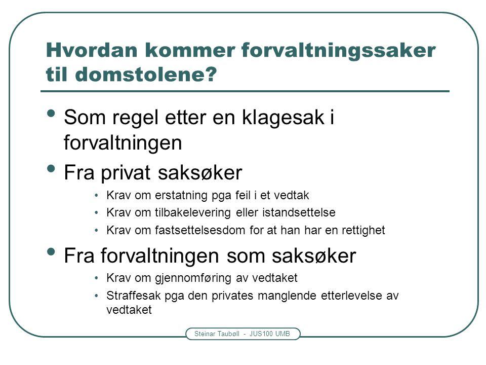 Steinar Taubøll - JUS100 UMB Hvordan kommer forvaltningssaker til domstolene? Som regel etter en klagesak i forvaltningen Fra privat saksøker Krav om