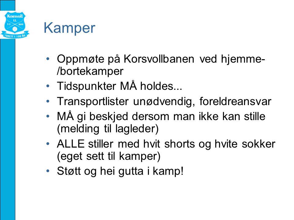 Kamper Oppmøte på Korsvollbanen ved hjemme- /bortekamper Tidspunkter MÅ holdes...