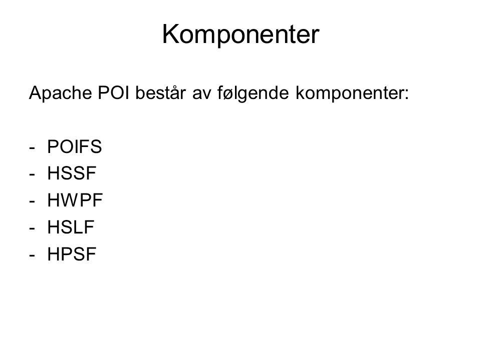 Komponenter Apache POI består av følgende komponenter: -POIFS -HSSF -HWPF -HSLF -HPSF