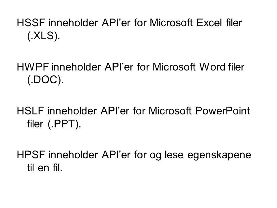 Noen eksempler med HSSF En fil leses ved og lage en instans av POIFSFilesystem og sende med en åpen InputStream til konstruktøren.