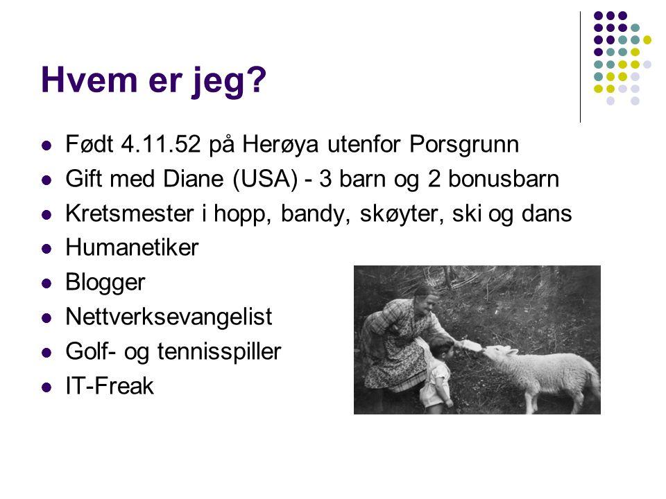Hvem er jeg? Født 4.11.52 på Herøya utenfor Porsgrunn Gift med Diane (USA) - 3 barn og 2 bonusbarn Kretsmester i hopp, bandy, skøyter, ski og dans Hum