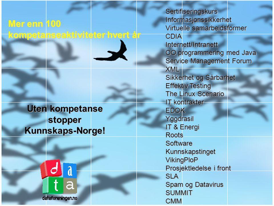 Dataforeningenskompetansepyramide Opplæring og test i enkel PC-bruk Sertifisering i Grunnleggende og Avansert bruk av PC og internett Sertifisering av IT-profesjonelle Setter den europeiske standarden for IT-kompetanse Kurs, konferanser, nettverksmøter Kunnskaps-sertifisering