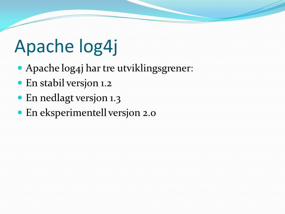 Apache log4j Apache log4j har tre utviklingsgrener: En stabil versjon 1.2 En nedlagt versjon 1.3 En eksperimentell versjon 2.0