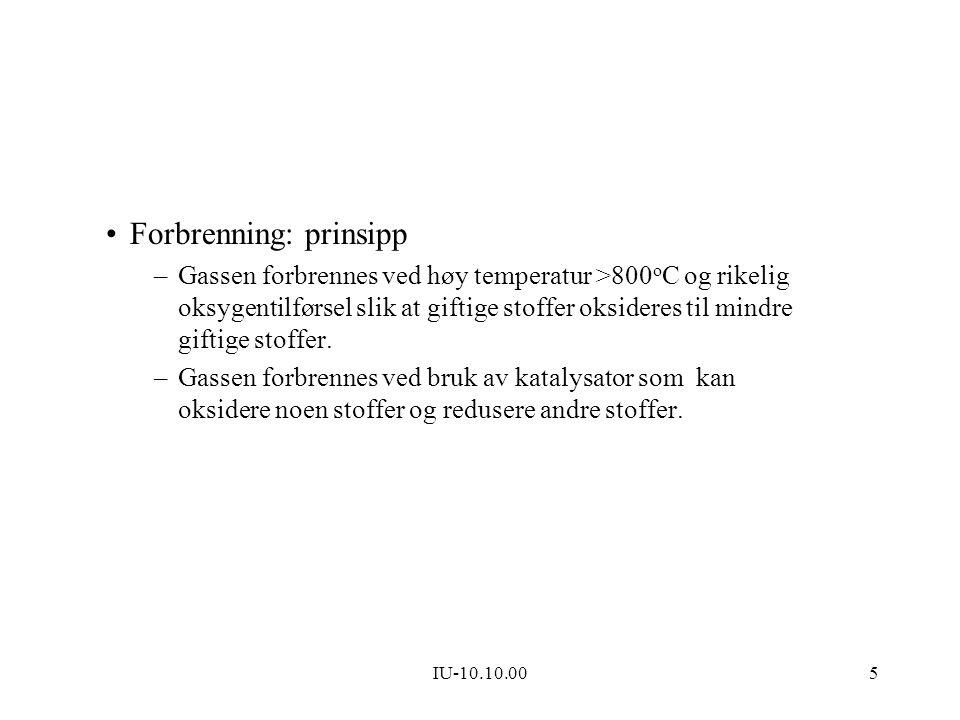 IU-10.10.005 Forbrenning: prinsipp –Gassen forbrennes ved høy temperatur >800 o C og rikelig oksygentilførsel slik at giftige stoffer oksideres til mi