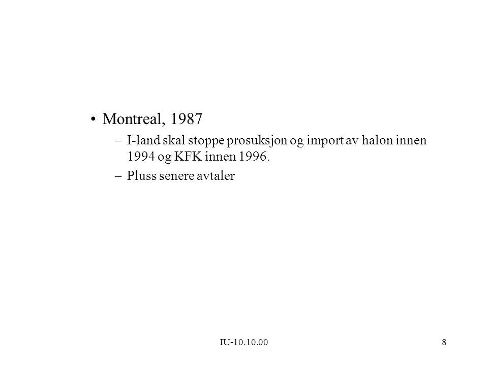 IU-10.10.008 Montreal, 1987 –I-land skal stoppe prosuksjon og import av halon innen 1994 og KFK innen 1996. –Pluss senere avtaler
