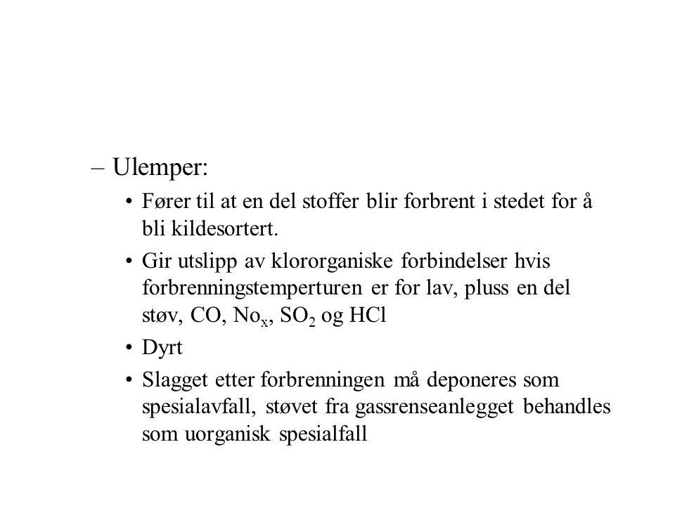 Deponering –Se figur –Avfallet brytes av mikrorganismer ned til gassene: CO 2, CH 4, CO, H 2 S og H 2 dette kan samles opp og brukes som brensel.