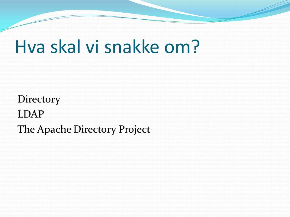 Hva skal vi snakke om? Directory LDAP The Apache Directory Project