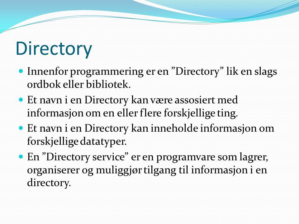 Directory Innenfor programmering er en Directory lik en slags ordbok eller bibliotek.