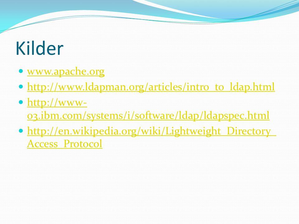 Kilder www.apache.org http://www.ldapman.org/articles/intro_to_ldap.html http://www- 03.ibm.com/systems/i/software/ldap/ldapspec.html http://www- 03.ibm.com/systems/i/software/ldap/ldapspec.html http://en.wikipedia.org/wiki/Lightweight_Directory_ Access_Protocol http://en.wikipedia.org/wiki/Lightweight_Directory_ Access_Protocol