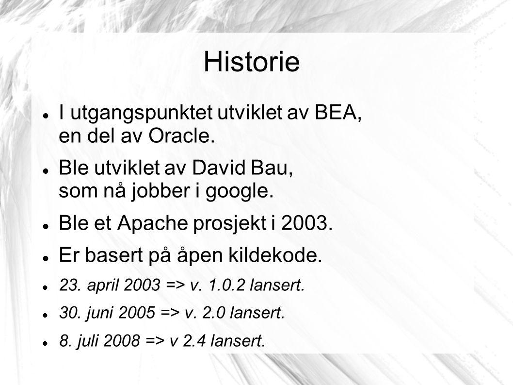 Historie I utgangspunktet utviklet av BEA, en del av Oracle.