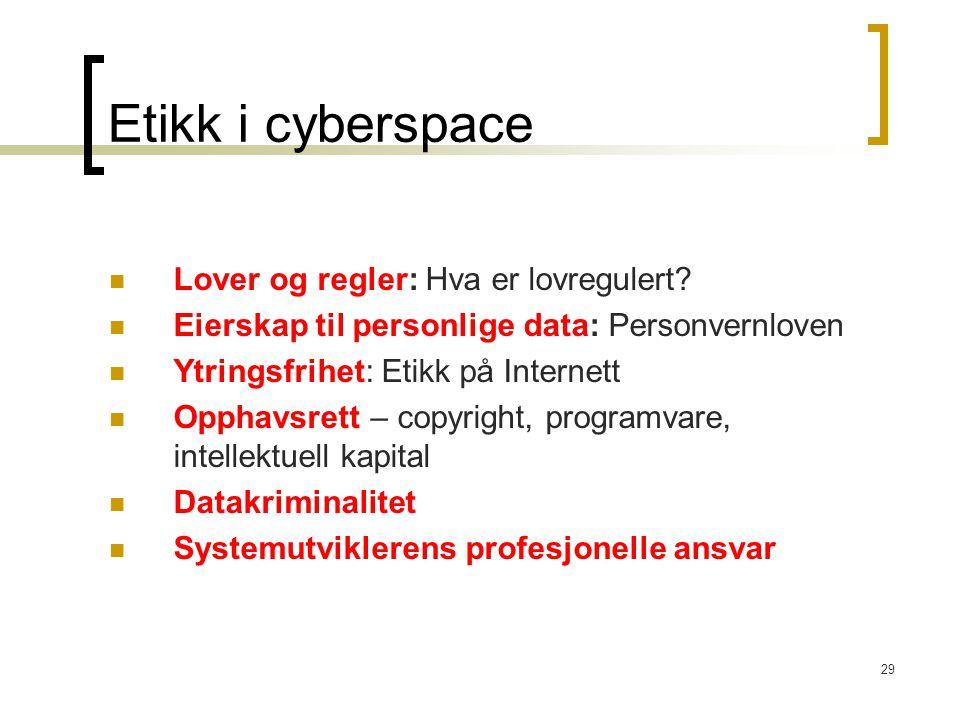 29 Etikk i cyberspace Lover og regler: Hva er lovregulert? Eierskap til personlige data: Personvernloven Ytringsfrihet: Etikk på Internett Opphavsrett