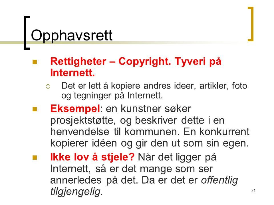 31 Opphavsrett Rettigheter – Copyright. Tyveri på Internett.  Det er lett å kopiere andres ideer, artikler, foto og tegninger på Internett. Eksempel: