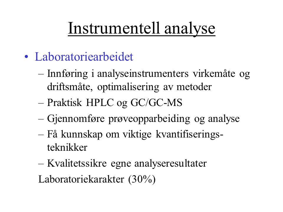 Instrumentell analyse Laboratoriearbeidet –Innføring i analyseinstrumenters virkemåte og driftsmåte, optimalisering av metoder –Praktisk HPLC og GC/GC